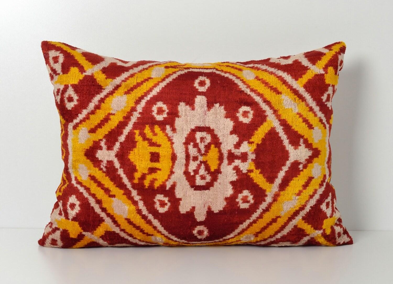 Ikat Pillows Decorative Pillow Lumbar Ikat Cushion Cover Red