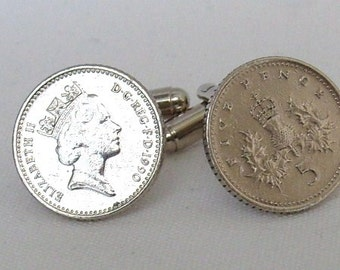Boxed Pair Vintage British 1990 Five Pence Penny Coin Cufflinks Wedding 27th Birthday Anniversary