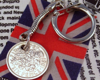 Lucky 1961 6d Sixpence English Coin Keyring Key Chain Fob Queen Elizabeth II
