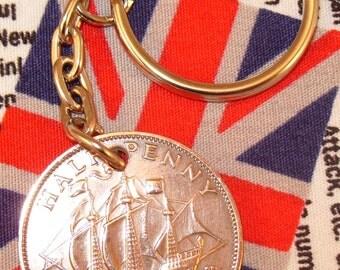 1952 Ha'penny Old Half Penny English Coin Keyring Key Chain Fob King George VI