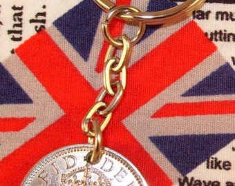 1956 Old English Shilling Coin Keyring Key Chain Fob Queen Elizabeth
