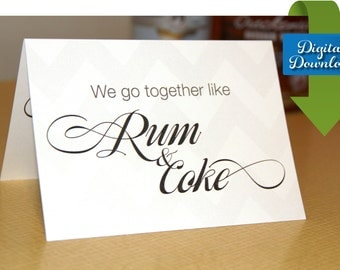 Rum and Coke - Romantic Card -  Cocktail themed card - Digital Download - Valentine's Card - Anniversary Card
