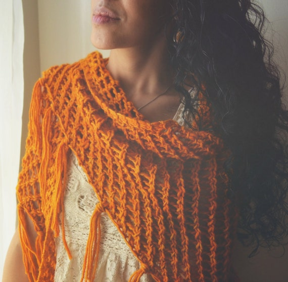 silvie shawl in sunset knit spring scarf shawl with fringes