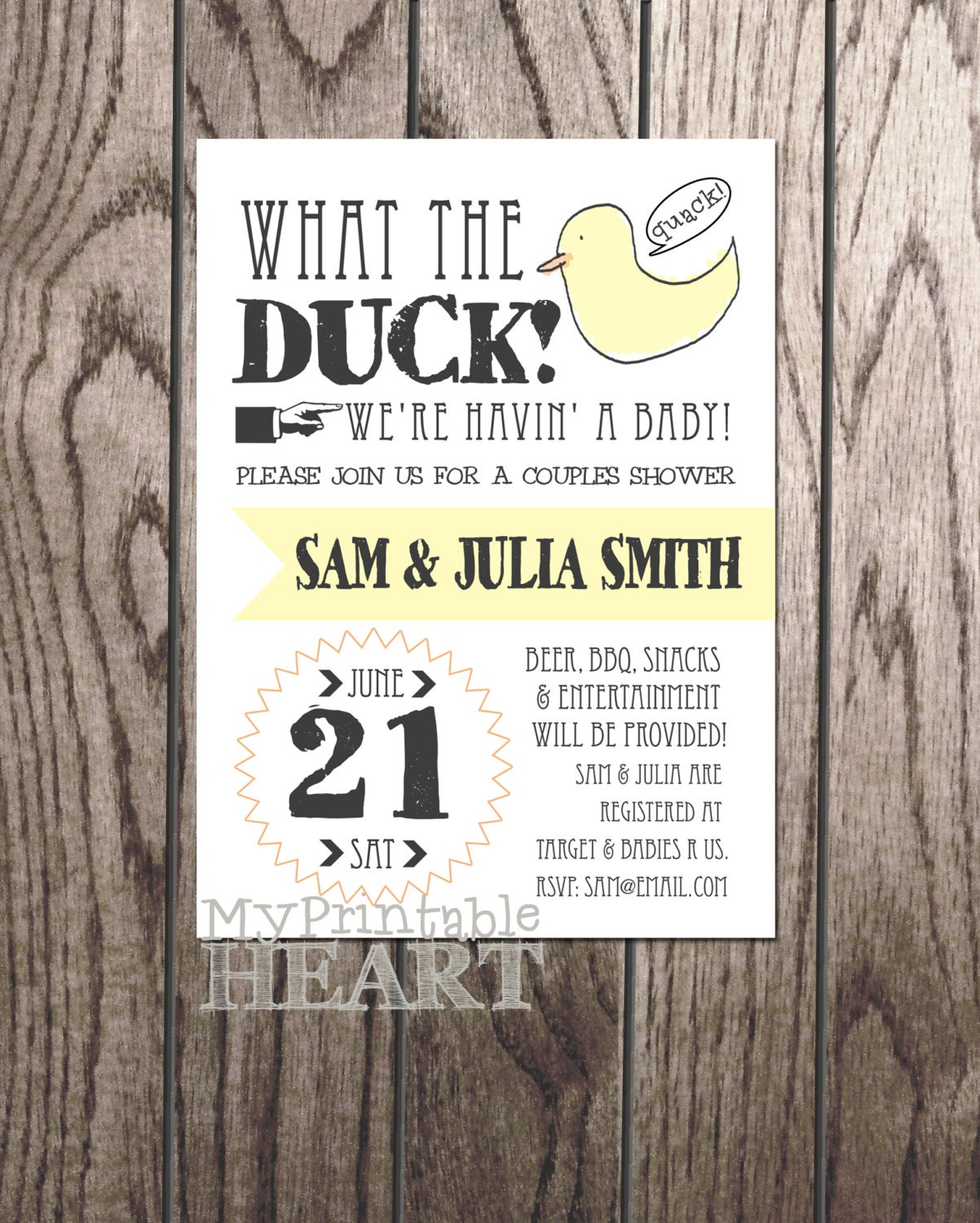 Couples Bbq Baby Shower: What The Duck Couples Baby Shower Invitation