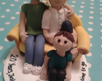 Family Portrait Ornament Sculpture, Polymer Clay Fimo Anniversary Birthday Cake Topper