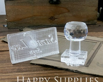 Custom Handmade Acrylic Glass Soap Stamp Seal Cookie Stamp