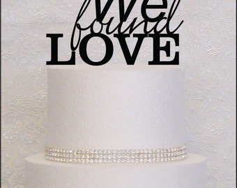 We Found Love Monogram Wedding Cake Topper in Black, Gold, or Silver