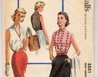 1950s McCall's 3551 Misses Sleeveless Button Front Blouse - Size 16 Bust 34 - Vintage Sewing Pattern