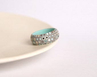 Mint green and brown ring - Honeycomb ring - Geometric ring  - Simple ring - Minimalist ring