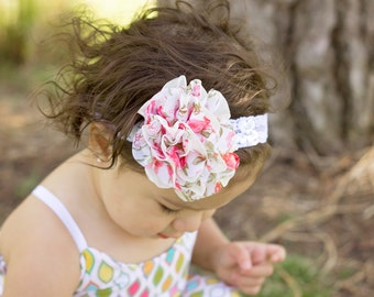 Vintage Floral Large White and Pink Shabby Chic Lace Flower Headband Preemie to Adult