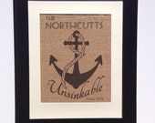 Unsinkable Anchor wedding gift with nautical rope and personalized with family name established date sign printed on real burlap