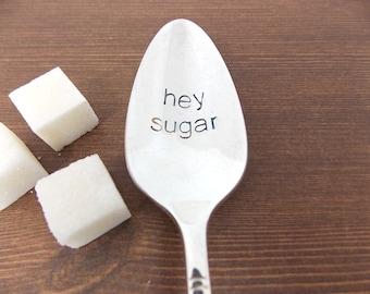 Handstamped Coffee Spoon, Gift Under 20, Personalized Gift, hey sugar, sugar spoon