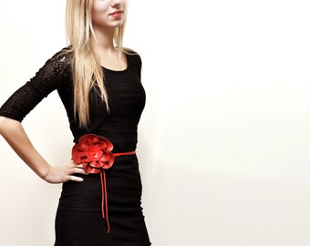 Womens Flower belt, Red leather tie belt. ALL SIZES