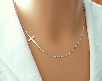 Sterling Silver Sideways Cross Necklace, Faith Cross Necklace, Cross Necklace, Religious Necklace / Cross, Xmas gift