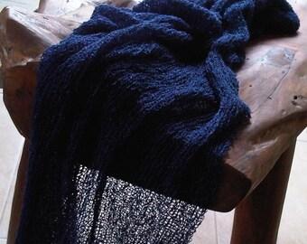 STRETCH wrap marine - swaddeling knit wrap - baby boy photo prop - basket filler - babyblanket - knit scarf - sling - hammock - cocoon