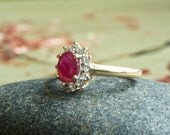 Ruby Engagement Ring, Ruby and Diamond 14K Gold Ring, Natural Gemstone, Merlot Oxblood Red Wine Spring Vintage Fashion