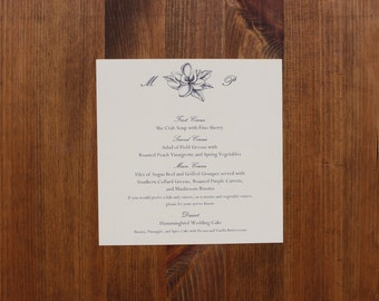 Printed Square Menu Cards -- Customizable -- Set of 20