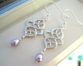 Silver Swirl Earrings - Oriental Earrings - Purple Earrings - Pearl Chandelier Earrings - Oriental Scroll - Special Occasion Earrings