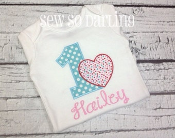 Baby Girl 1st Birthday Outfit - 1st Birthday Heart Birthday Outfit - Heart Birthday Outfit