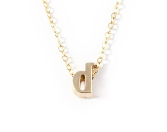 Tiny Letter Initial Necklace - Gold Letter