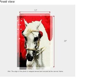 Dressage horse art, horse painting, dressage horse on canvas, Lipizzaner horse painting,print dressage art, white horse painting