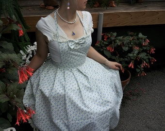 Sweet Conservative Lolita Apron Dress in Ivory and Blue