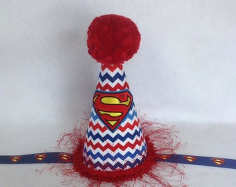 Superman Inspired Birthday Party Hat (Free Personalization)