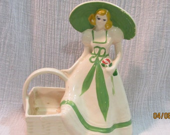 Vintage Southern Bell Lady with Basket Pottery Planter by Brush USA