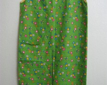 Womens Large Handmade House/Garden Fun Dress - Green with Flowers + Pocket