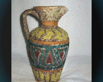 "8"" Tall Red Clay Pottery Water Pitcher/Vase - Italy"