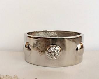 Wide Hinged Bangle Bracelet with Domed Designs and Rhinestones, Hinged Bracelet