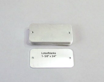 Bracelet ID Tags - 1 5/8 x 3/4 - Aluminum 20G - Easy to Stamp  -  hand stamping blanks// bracelet blanks/ bracelet tags//tumbled