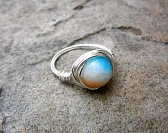 White Jade Ring, Orange Ring, Wire Wrapped Ring, Jade Stone Ring, Wire Wrapped Jewelry Handmade, Blue Stone Ring