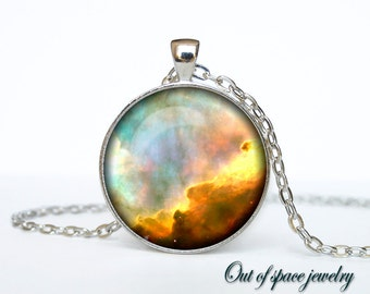 Omega nebula necklace Silver plated Omega nebula pendant  Galaxy Universe Space
