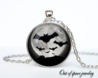 Halloween necklace Bat pendant Bat necklace Bat jewelry Trick or Treat Halloween Pendant Halloween  jewelry black