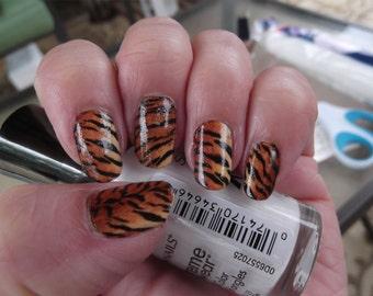 30 aquarius nail art zaq zodiac astrology symbols aquarius 18 realistic tiger nail art stripes full nail decals tgr animal print prinsesfo Images
