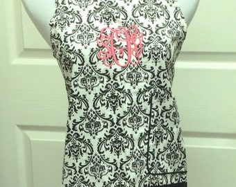 Monogrammed APRON - Black Damask - Custom Embroidery - Perfect Gift for the Bride - Bridal Shower Gift - Hostess Gift