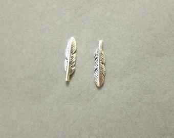 Sterling Silver Feather Stud Earrings,  Feather earrings, Tribal Earrings,