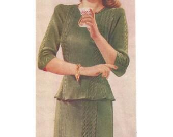 "1940s Knitting Pattern for Womens Evening Dress - 34"" bust - Digital PDF"