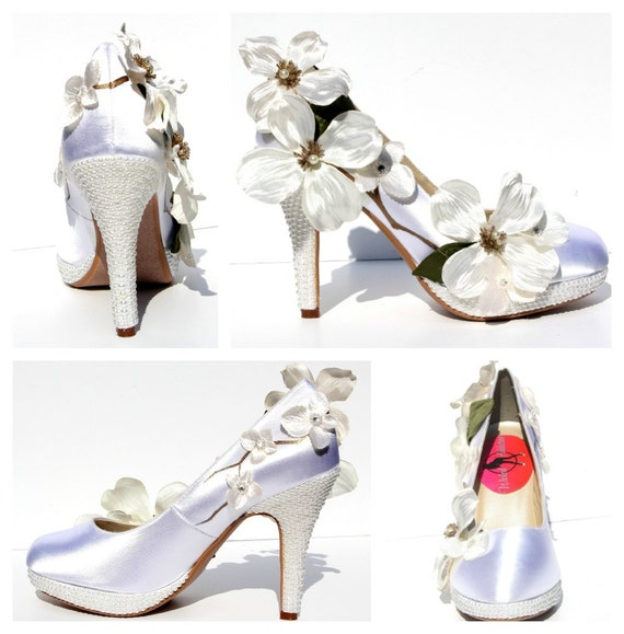 Dogwood flower wedding heels hand painted and by WickedAddiction