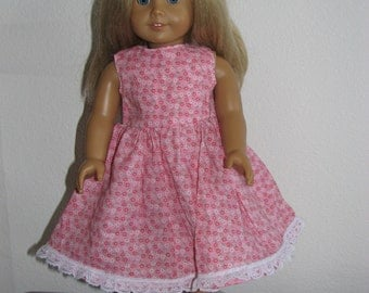 Pink & White Floral Summer Dress for 18 inch doll with lace hem