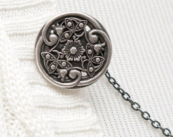 Silver Sweater Clip - Silver Celtic Floral Sweater Guard, Sweater Chain, Cardigan Clip, Cardigan Guard