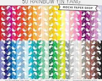 Yin Yang Digital Paper, Rainbow Digital Chinese Yin Yang Pattern, Digital Yin Yang Download, Scrapbook Paper, Cardmaking, Yin Yang PNG Files