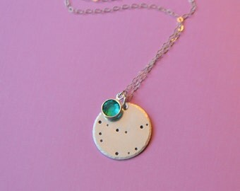 Sterling Silver or Gold Filled Constellation Necklace with Swarovski Birthstone Charm - Astrological Sign Ne