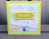 Blank baby shower card { CELEBRATE } unisex - newborn baby boy or girl