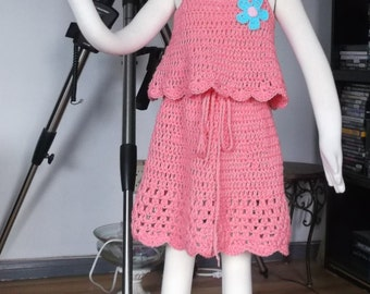 Crochet Girls Skirt & Tank Top