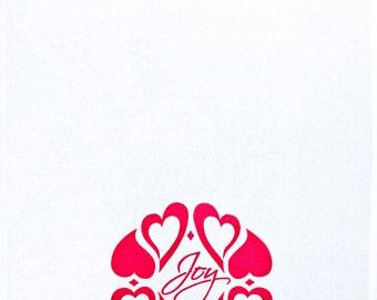 Tea Towel cotton hand screen printed eco friendly ink - JOY design