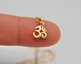 24 Kt Tiny Gold Dipped Om Necklace-  gold ohm necklaces, yoga necklace, zen necklace, spiritual necklace.