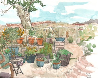 Potted Plants in the Courtyard  - Original Watercolor Landscape Painting - Arizona