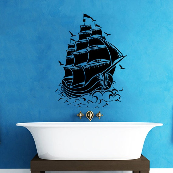 Boat Bathroom Signs: Pirate Ship Wall Decal Nautical Sea Boat Ocean Decals Wall